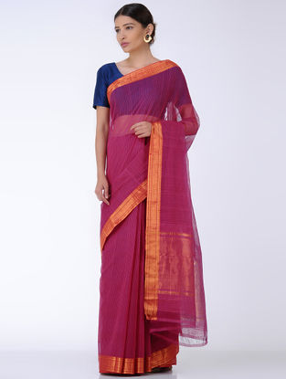 Magenta Missing Checks Cotton Saree with Zari