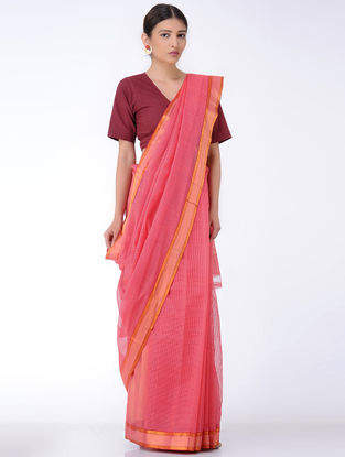Pink Missing Checks Cotton Saree with Zari