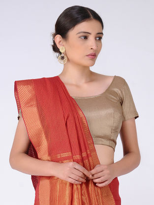 Red Missing Checks Cotton Saree with Zari