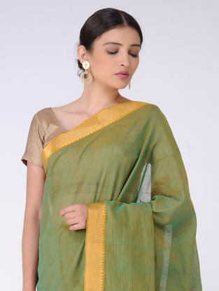 Green Missing Checks Cotton Saree with Zari