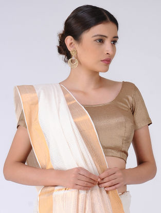Ivory Missing Checks Cotton Saree with Zari
