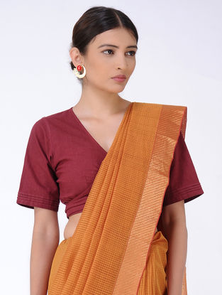 Orange Missing Checks Cotton Saree with Zari