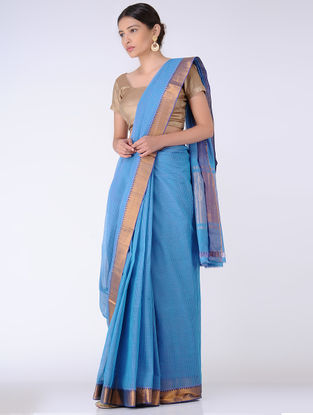 Blue Missing Checks Cotton Saree with Zari