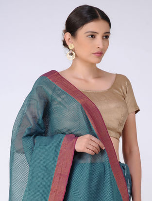 Teal Missing Checks Cotton Saree with Zari