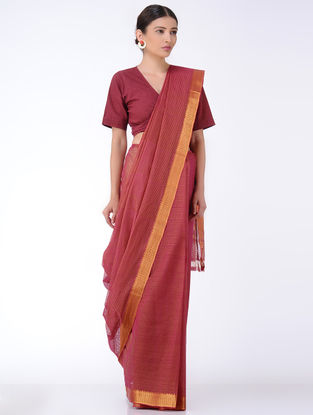 Maroon Missing Checks Cotton Saree with Zari
