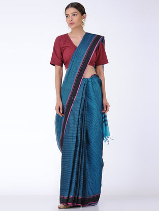 Blue-Black Missing Checks Cotton Saree