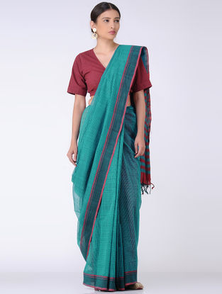 Sea Green-Maroon Missing Checks Cotton Saree