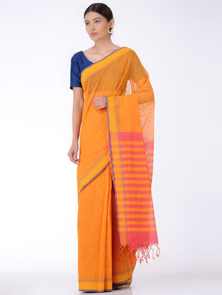 Mustard-Pink Missing Checks Cotton Saree