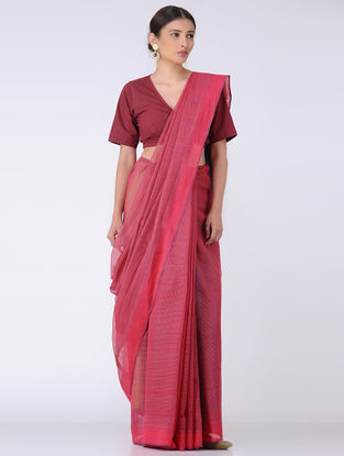 Pink-Blue Missing Checks Cotton Saree