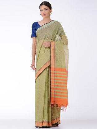 Green-Orange Missing Checks Cotton Saree