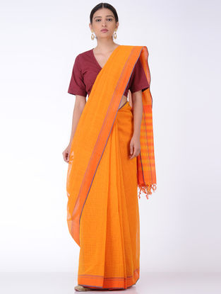 Mustard-Orange Missing Checks Cotton Saree