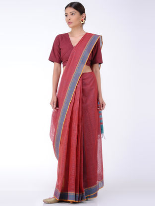 Red-Blue Missing Checks Cotton Saree