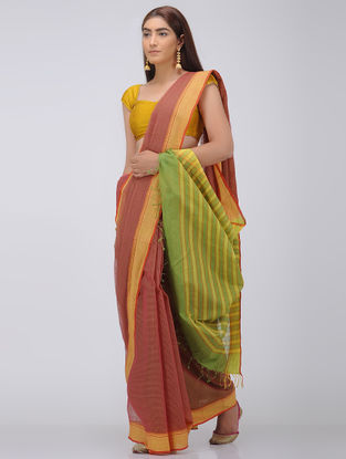 Brown-Green Missing Checks Cotton Saree
