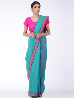 Blue-Pink Missing Checks Cotton Saree