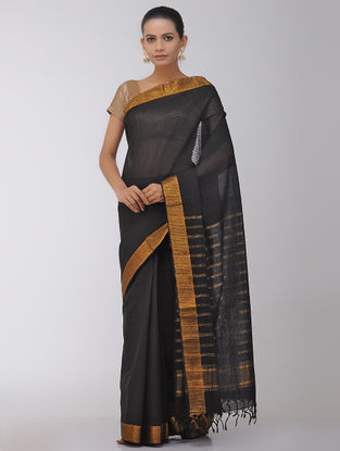 Black Cotton Saree with Zari