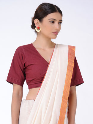 Ivory Cotton Saree with Zari