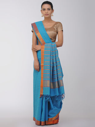 Blue Checkered Cotton Saree with Zari