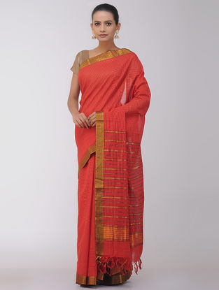 Red Checkered Cotton Saree with Zari