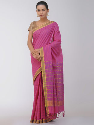 Pink Checkered Cotton Saree with Zari