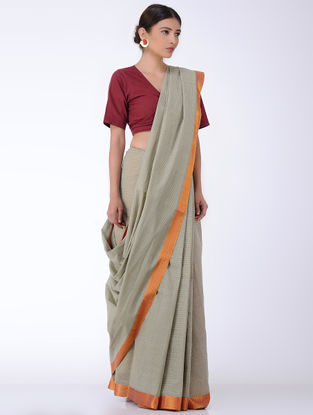 Grey Checkered Cotton Saree with Zari