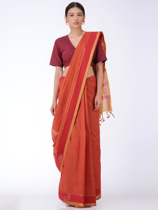 Red-Yellow Cotton Saree with Zari