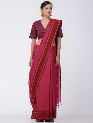 Pink-Red Mangalgiri Cotton Saree with Woven Border
