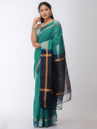 Sea Green-Blue Mangalgiri Cotton Saree with Ikat Border and Zari