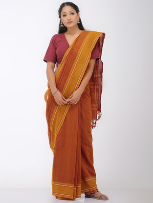 Orange-Red Mangalgiri Cotton Saree with Woven Border