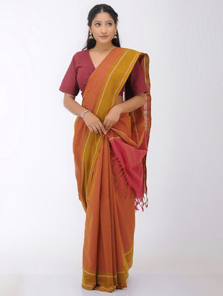 Orange-Pink Mangalgiri Cotton Saree with Woven Border