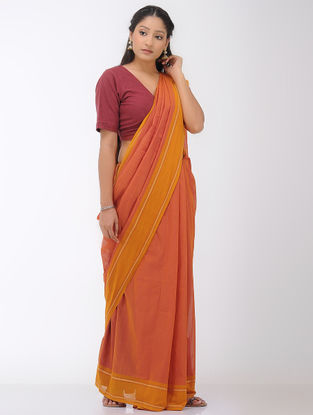 Peach-Pink Mangalgiri Cotton Saree with Woven Border