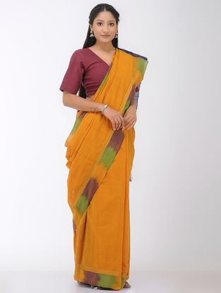 Mustard-Blue Mangalgiri Cotton Saree with Ikat Border and Zari