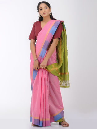 Pink-Green Mangalgiri Cotton Saree with Ikat Border and Zari