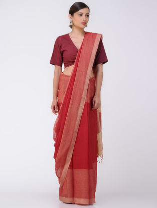 Red-Beige Mangalgiri Cotton Saree