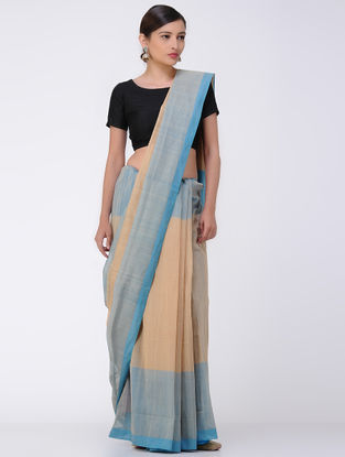 Beige-Blue Mangalgiri Cotton Saree