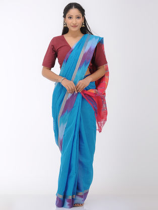 Blue-Pink Mangalgiri Cotton Saree with Ikat Border and Zari