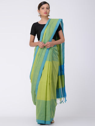 Green-Blue Mangalgiri Cotton Saree