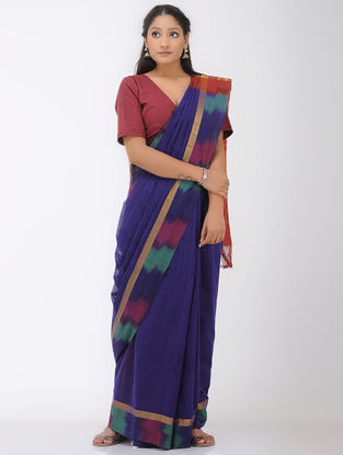 Blue-Red Mangalgiri Cotton Saree with Ikat Border and Zari