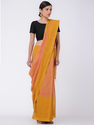 Peach-Mustard Mangalgiri Cotton Saree