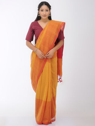 Mustard-Orange Mangalgiri Cotton Saree