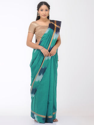 Green-Blue Mangalgiri Cotton Saree with Ikat Border and Zari