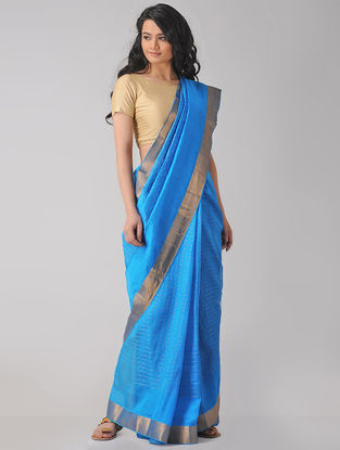 Blue Cotton Silk Saree with Zari Border