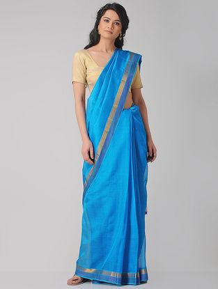Blue-Purple Cotton Silk Saree with Zari Border