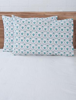 Aqua Tulip Screen Printed Pillow Covers (Set of 2) 27.5in x 19.5in