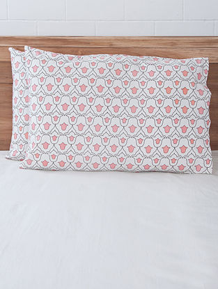 Pink Tulip Screen Printed Pillow Covers (Set of 2) 27.5in x 19.5in