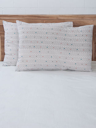 Multi-Color Jaal Screen Printed Pillow Covers (Set of 2) 27.5in x 19.5in