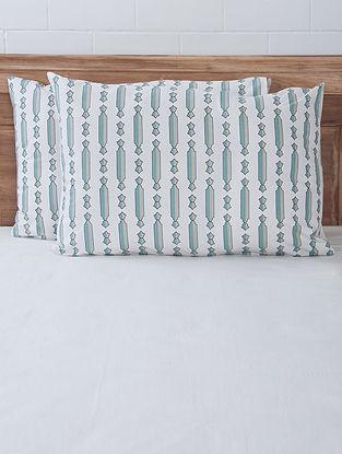 Aqua Column Screen Printed Pillow Covers (Set of 2) 27.5in x 19.5in