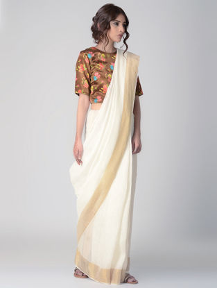 Ivory Natural-dyed Linen Saree with Zari