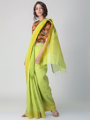 Green Natural-dyed Linen Saree