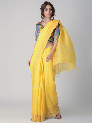 Yellow Natural-dyed Linen Saree with Zari