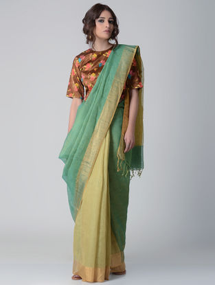 Green-Yellow Natural-dyed Linen Saree with Zari